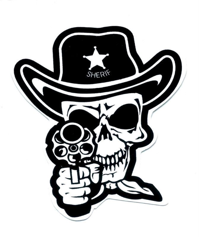 Skull sheriff cowboy punk rock gun pistol sticker